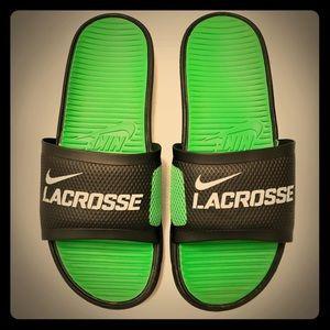Men's Nike Lacrosse Green & Black Flip-Flops